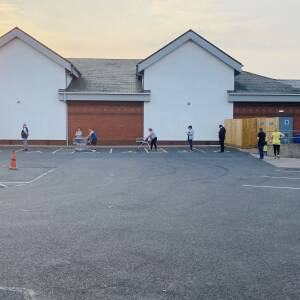 Social distancing queue, Aldi, Hereford, April 2020