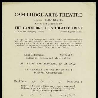 Cambridge Arts Theatre, November 1950