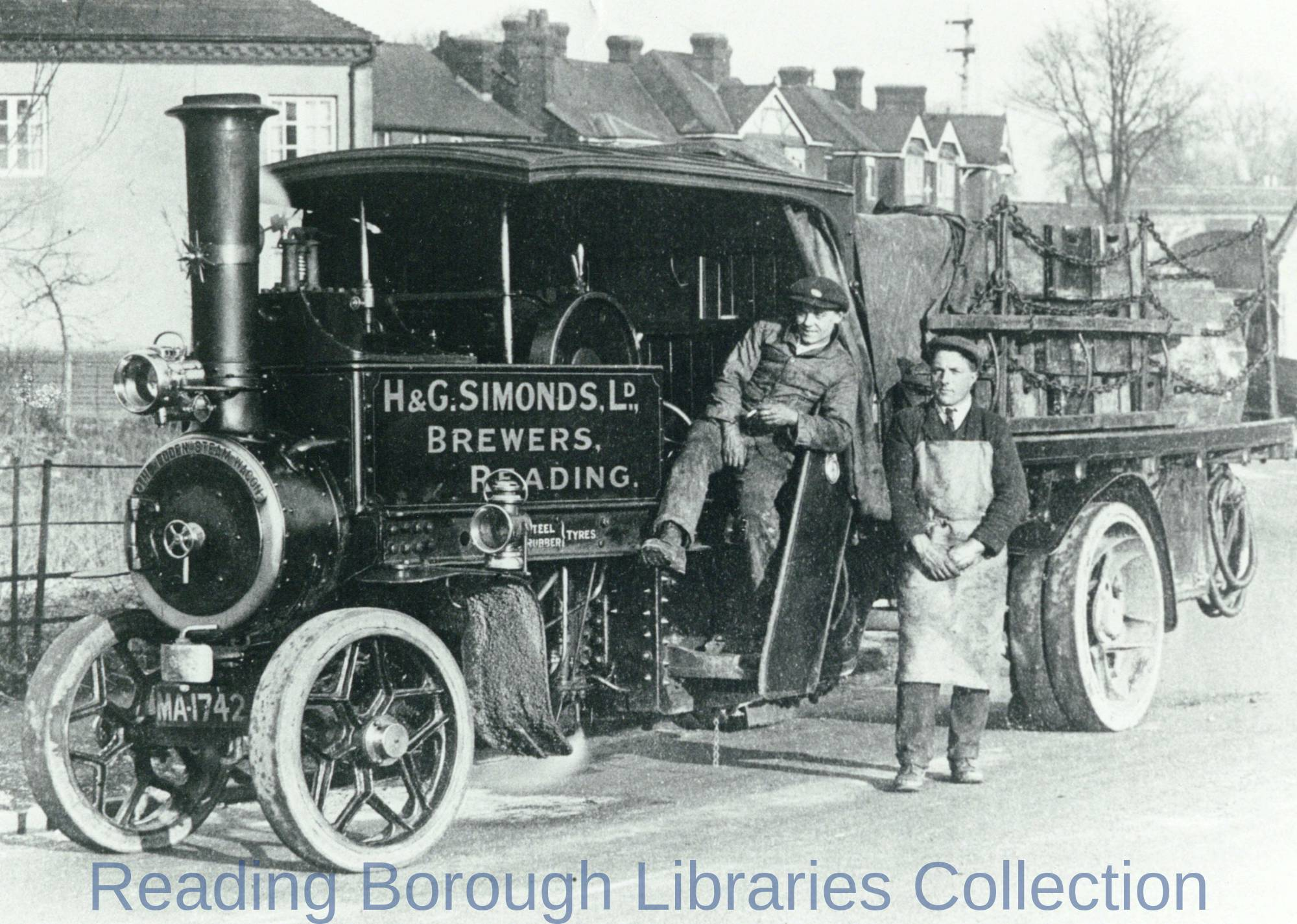 Steam Lorry of H. and G. Simonds Ltd., Brewers, with Driver and Drayman, Reading, 1910-1919.
