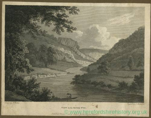 View on the Wye, Herefordshire, print 1788