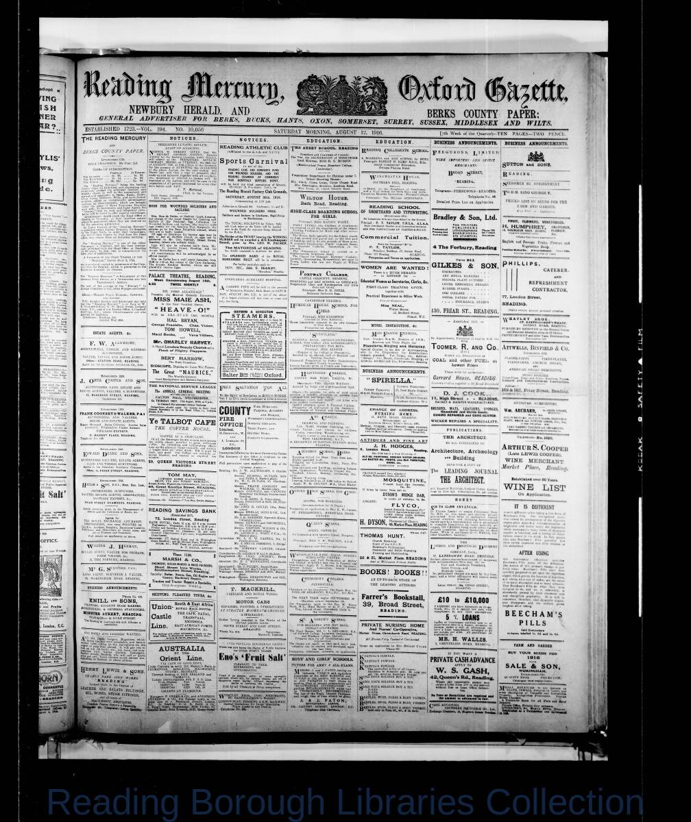 Reading Mercury Oxford Gazette Saturday August 12, 1916. Pg 1
