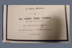 Memorial Card (Page 2) for Private Albert Frank Stopher