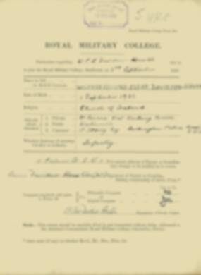 Wilfred Davidson-Houston -  RMC Form 18A Personal Detail Sheets Jan & Sept 1920 Intake