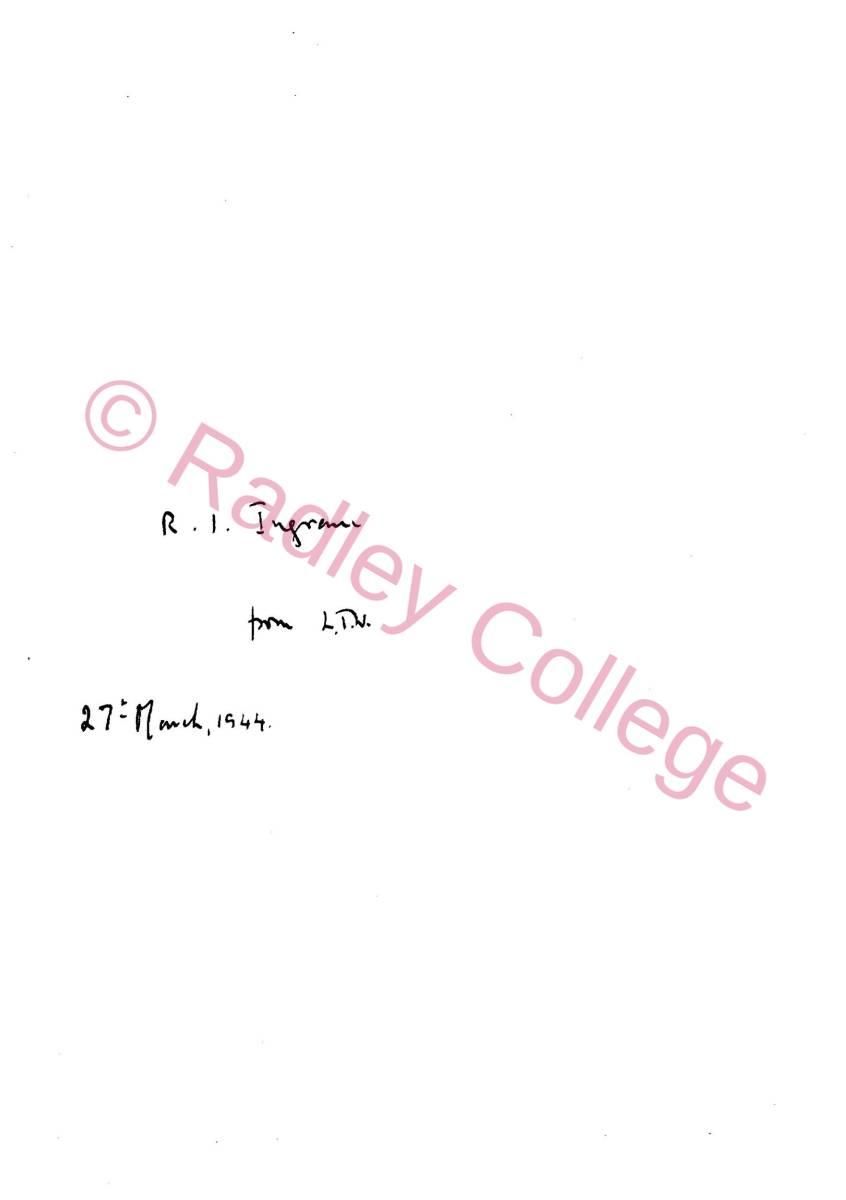 Sicut Columbae - ownership inscription 1944