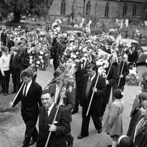 Decorated sticks on parade at the Heart of Oak Club Walk, Fownhope 31st May 1965