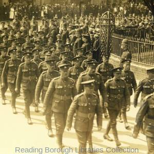 The return of the 2nd Battalion Royal berksshire Regiment 17 May 1919. The men going to a service of thanksgiving at St Mary's Church in the Butts.