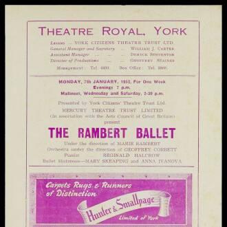 Theatre Royal, York, January 1952