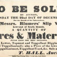 Auction Handbill, Blumer's Slipway