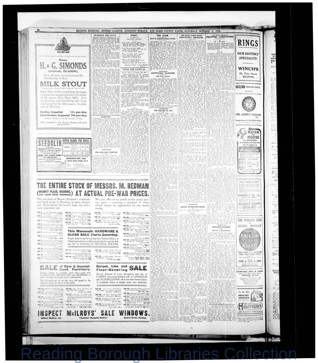 Reading Mercury Oxford Gazette  Saturday,  September 9,1920. Pg 10