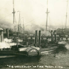 """""""T. S. Wellesley"""" on Fire March 11 1914"""