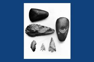 Stone implements excavated in Mitcham
