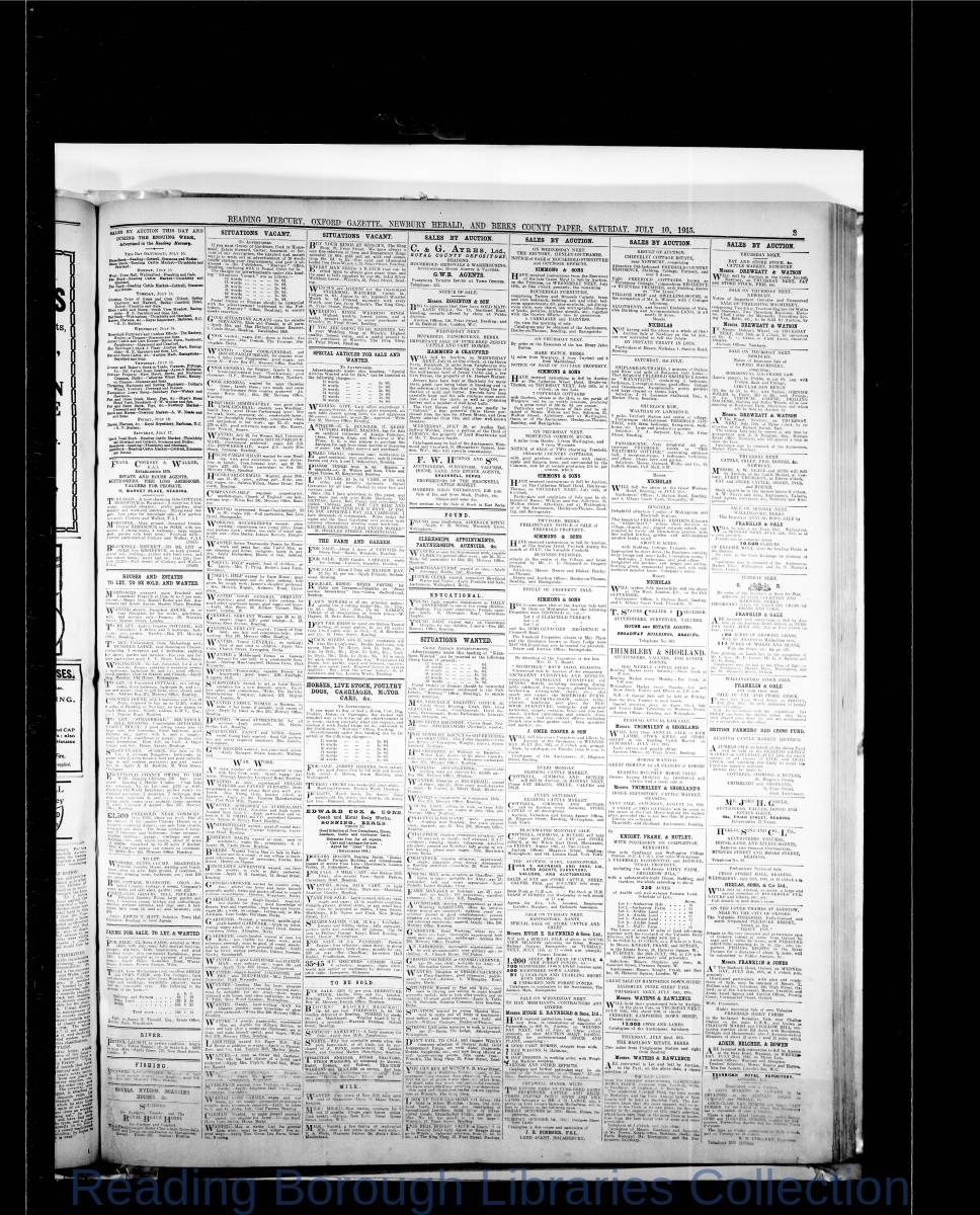 Reading Mercury Oxford Gazette  Saturday, July 10, 1915. Pg 3