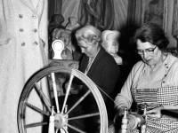 Mrs Louise Littleton working her spinning wheel