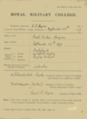 RMC Form 18A Personal Detail Sheets May & Sept 1918 - page 1