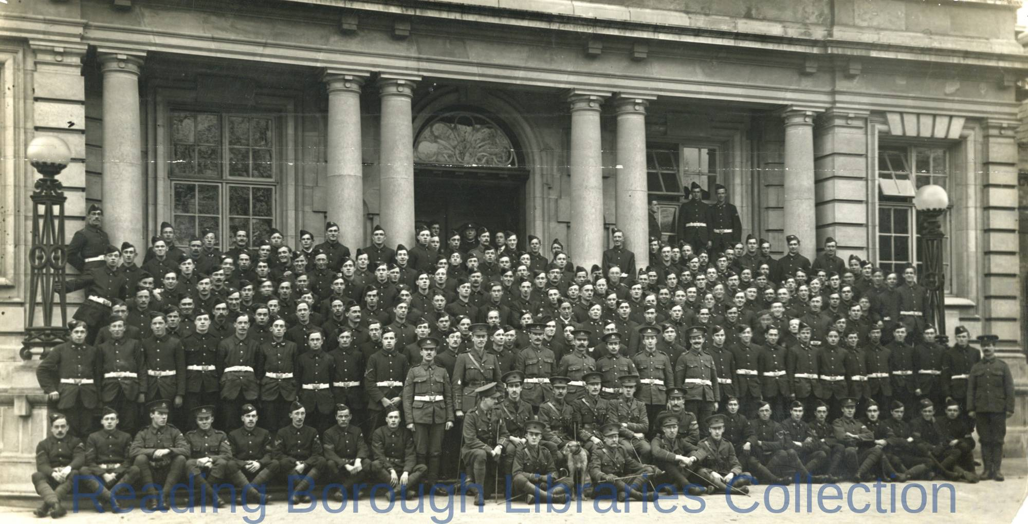 """D"" Company, 7th Battalion, Royal Berkshire Regiment, Shire Hall, The Forbury, Reading, 1915."