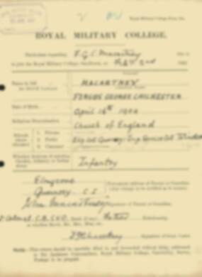 RMC Form 18A Personal Detail Sheets Feb & Sept 1922 Intake - page 91
