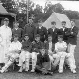 G36-285-14 Hereford Cathedral School cricket eleven with umpire.jpg