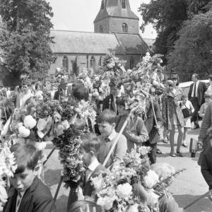 Children parading in Fownhope Heart of Oak Club Walk, 1969