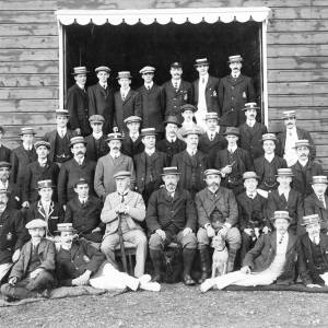Black and white photograph of an unknown group, possibly rowing club, by R.E. Davies, 'Wye' Studios, Ross