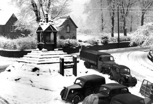 Lymm Cross in the snow
