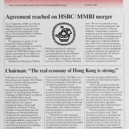 Front cover of the October 1987 edition of 'Hongkong Bank News' announcing the full takeover of Marine Midland