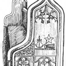 Carved choir Stall of Brandreth Achievement All Saints Church