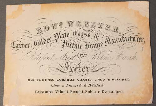 Edward Webster, Old paintings carefully cleaned, 5 Bedford Street, Exeter, 19th Century