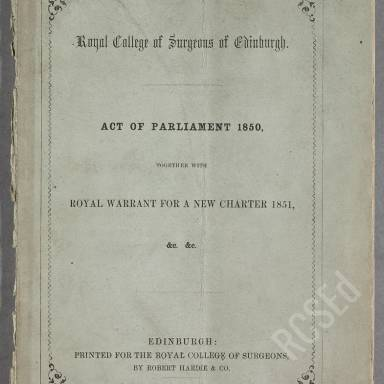 Act of the Parliament together with Royal Warrant for a New Charter