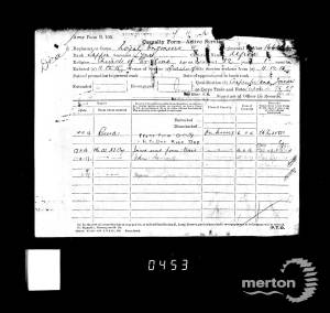 Casualty Form for Alfred Lyne