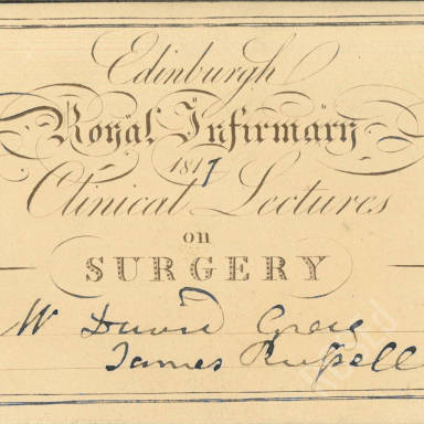 Clinical Lectures, Royal Infirmary