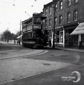 Tram at Broadway Corner, Wimbledon