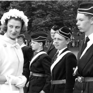 Princess Alexandra meeting youths from the Boys Brigade