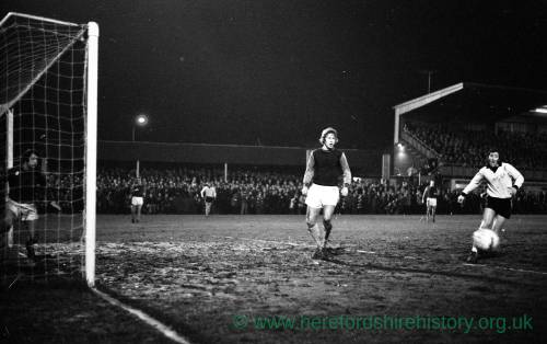 Billy Meadows in action for Hereford United v West Ham, Feb 1972.