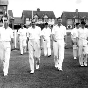 Cricketers playing at Hereford.
