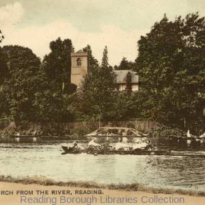 St. Peter's Church, Caversham, and Caversham Court, from the Reading bank of the river, 1920.