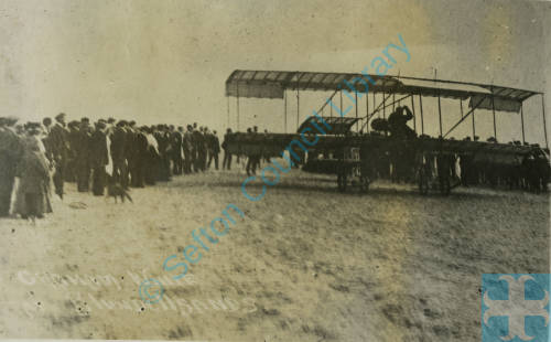Pioneer aviator Claude Graham-White after landing at Blundellsands in his pusher-type biplane, C1911