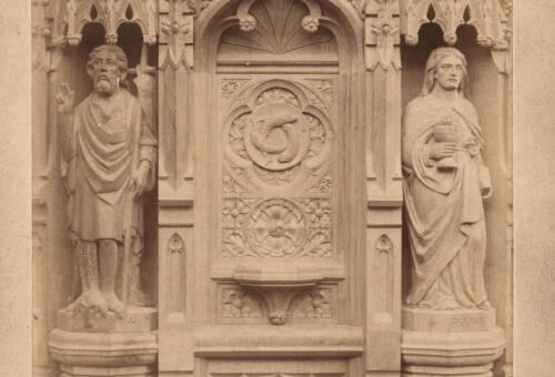 Panels of carved oak pulpit, Bratton Clovelly Church, 1885, Bratton Clovelly