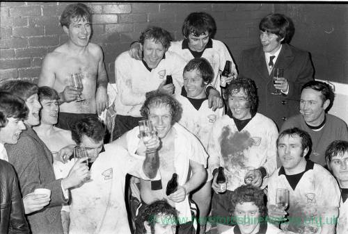 Hereford United players in the dressing room after the Newcastle cup win, Feb 1972.
