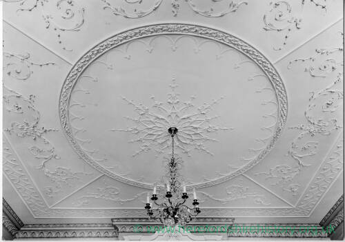 237 - Plasterwork on ceiling; chandelier hanging from centre