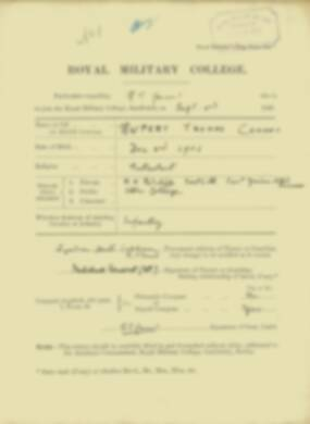 Rupert Conant -  RMC Form 18A Personal Detail Sheets Jan & Sept 1920 Intake