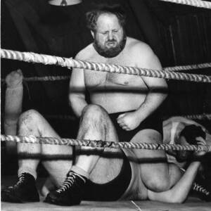 Two wrestlers during a bout.