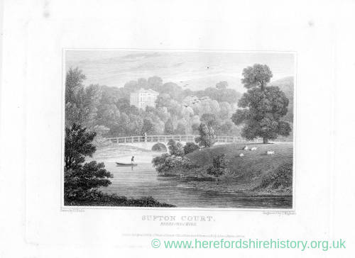 Sufton Court, Mordiford, Herefordshire, print, 1821