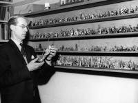 Mr Garratt with his collection of toy soldiers