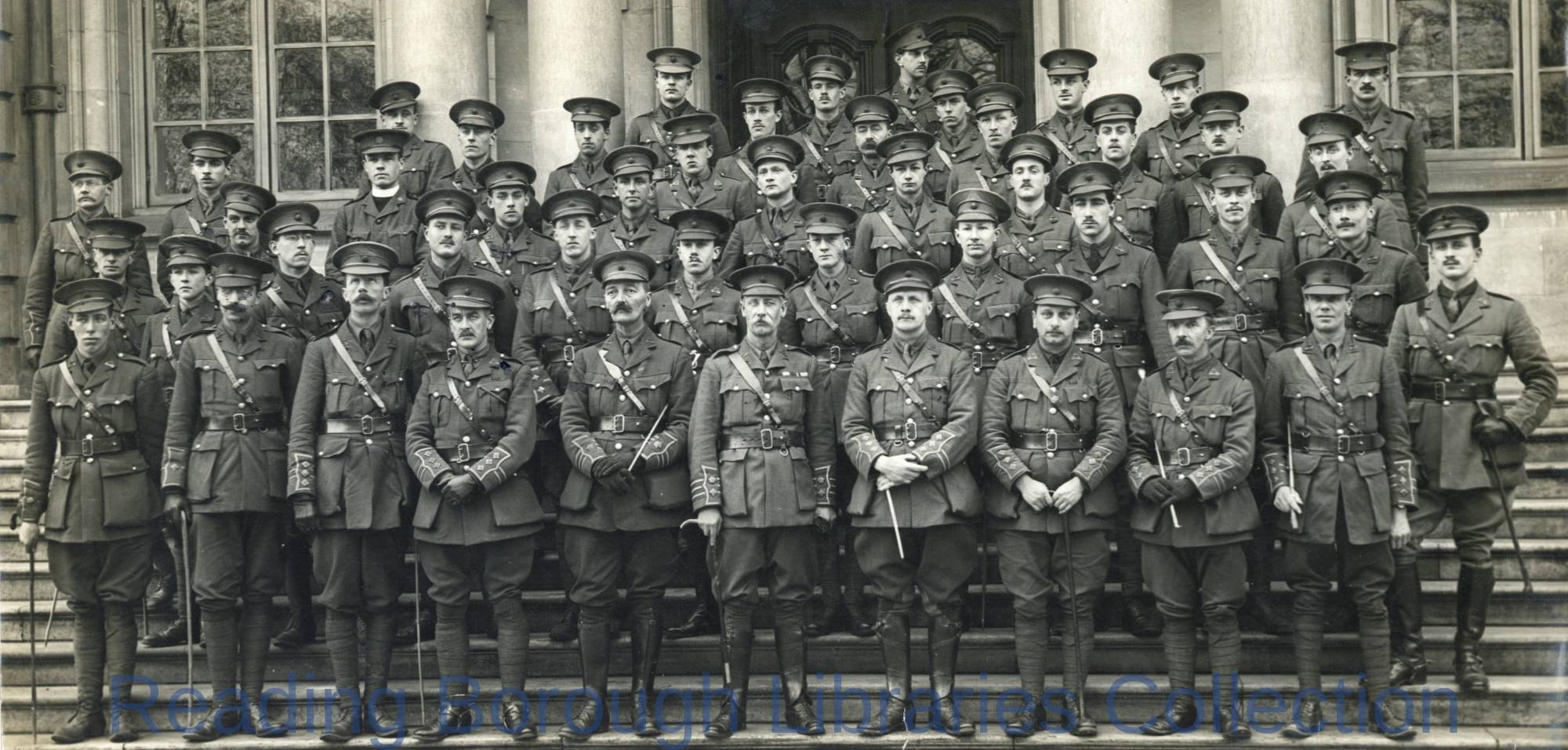 Officers, 7th Battalion, Royal Berkshire Regiment, Shire Hall, The Forbury, Reading, February 1915.