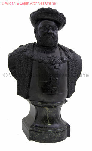 Bust of Henry VIII, 1756, carved in cannel coal by Robert Towne for the Earl of Crawford in 1756