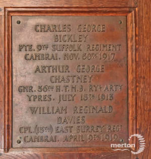 Memorial Plaque - Bickley, Chastney, & Davies