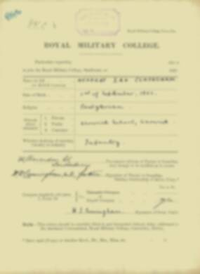 Herbert Cuningham -  RMC Form 18A Personal Detail Sheets Jan & Sept 1920 Intake