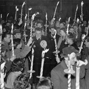 Hereford Liberal supporters torch light parade in Hereford streets with Frank Owen