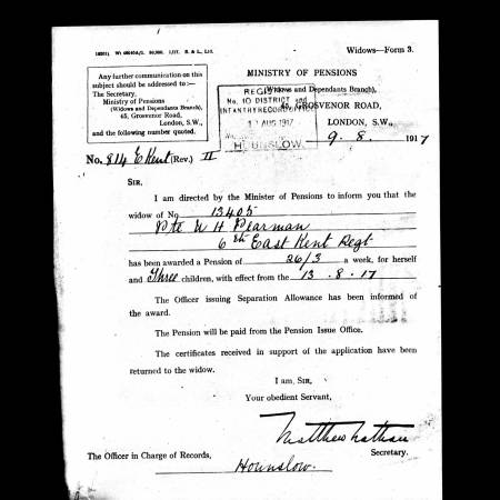Service Record extract for William Pearmain