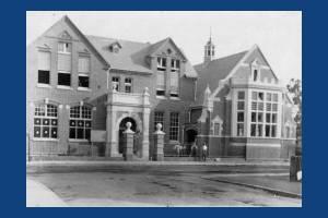 Rutlish School under construction (front view)